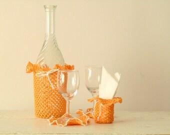 Peach Wine Bottle Cozy set