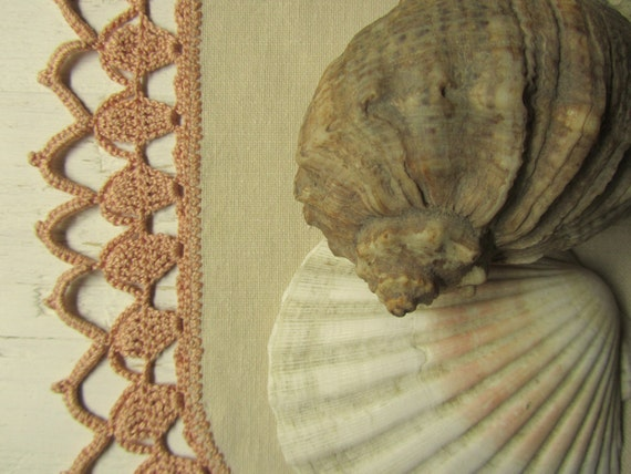 Sand Linen Fabric and Crochet mix Doily (14 1/2 inches)