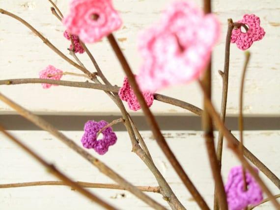 Crochet Pink and Purple Anemone Flowers (30pcs)