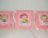 Little Girls Large Gift Tags Fairies Friends Bike Cupcake