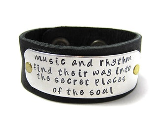 Hand Stamped Leather Cuff -  Music and Rhytum Bracelet - Plato
