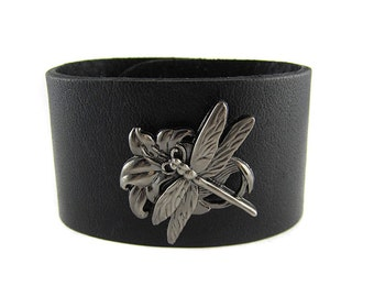 Silver Dragonfly Bracelet -  Leather Cuff - Wide -  Six Colors