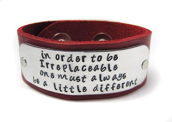 Leather Cuff - Be Different -  Coco Channell - Hand Stamped Metal - Available in  EIGHT colors