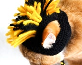 Mohawk Cat Hat - Black and Yellow