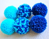Catnip Pom Pom Cat Toys - Set of Six (Aqua and Royal Blue)