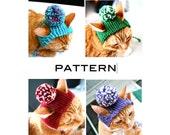 Pom Pom Cat Hat - PDF Knitting Pattern