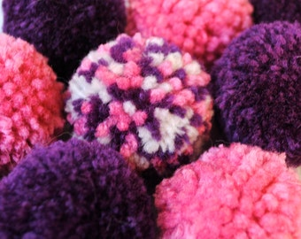 Catnip Pom Pom Cat Toys - Set of Six (Pink and Purple)