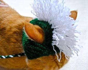 Mohawk Cat Hat - Dark Green & White - Hand Knit Cat Costume