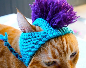 Mohawk Cat Hat  - Aqua and Purple - Hand Knit Cat Costume - Cat Halloween Costume
