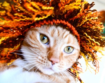 Lion Costume for Cats - Full Mane - Hand Knit Cat Hat - Cat Halloween Costume (READY TO SHIP)