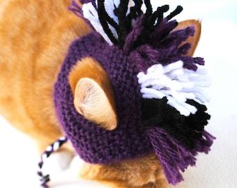 Mohawk Cat Hat - Purple, Black, White - Hand Knit Cat Costume