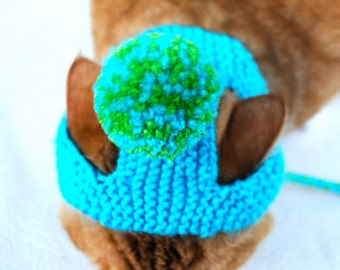 Pom Pom Cat Hat - Teal and Lime Green - Hand Knit Cat Costume