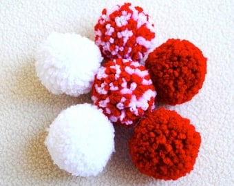 Catnip Pom Pom Cat Toys - Set of Six (Red and White)