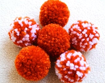 Catnip Pom Pom Cat Toys - Set of Six (Orange and White)