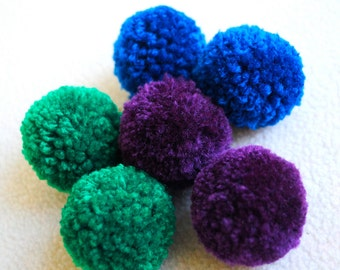 Catnip Pom Pom Cat Toys - Set of Six (Purple, Green, Blue) - READY to SHIP
