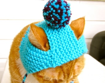 Pom Pom Cat Hat - Teal and Purple - Hand Knit Cat Costume