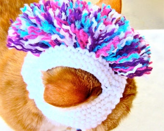 Mohawk Cat Hat - White, Teal, Purple, Pink - Hand Knit Cat Costume
