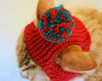 Pom Pom Cat Hat - Red and Green - Hand Knit Cat Costume