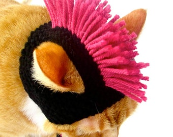 Mohawk Cat Hat - Black and Pink - Hand Knit Cat Costume