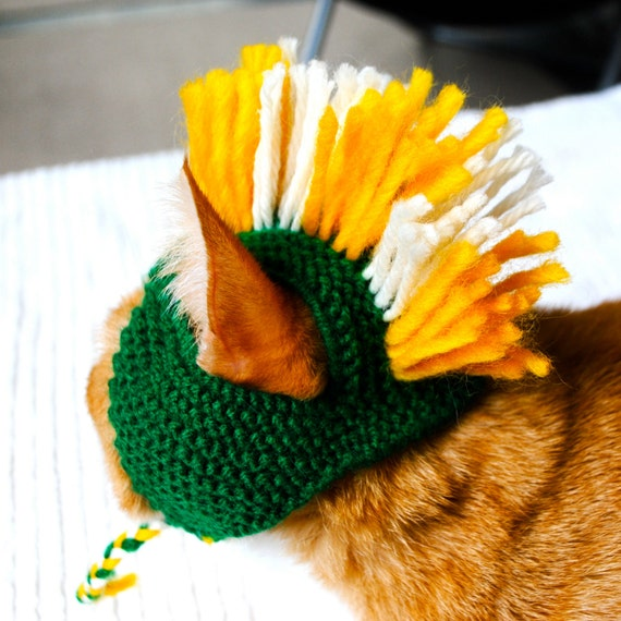 Mohawk Cat Hat - Green and Yellow - Hand Knit Cat Costume