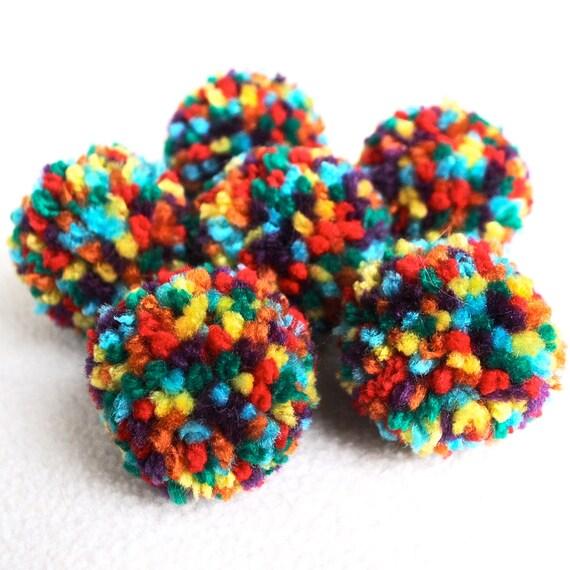 Catnip Pom Pom Cat Toys - Set of Six (Rainbow)