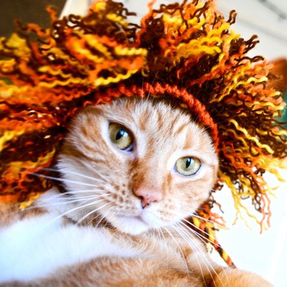 Lion Costume for Cats - Full Mane - Hand Knit Cat Hat - Cat Halloween Costume