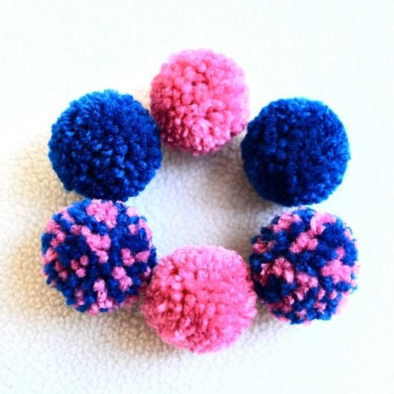 Catnip Pom Pom Cat Toys - Set of Six (Pink and Royal Blue)