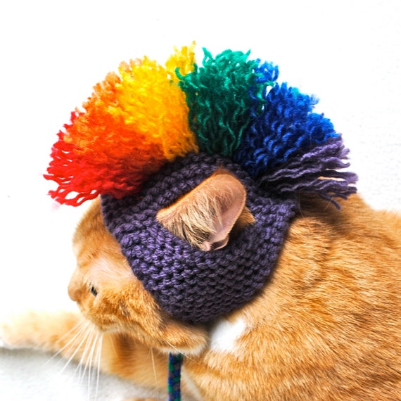 Mohawk Cat Hat - Purple & Rainbow - Hand Knit Cat Costume