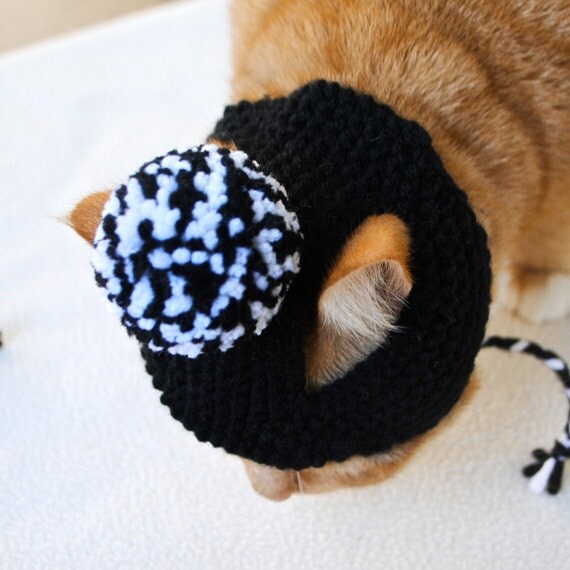 Pom Pom Cat Hat - Black and White - Hand Knit Cat Costume - Halloween Costume for Cats - Tuxedo Costume