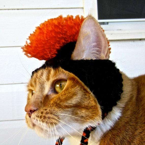 Mohawk Cat Hat - Black and Orange - Hand Knit Cat Costume