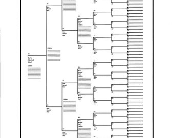 "10 pack of Large Family Tree Charts Bracket Style 18"" x 24"""