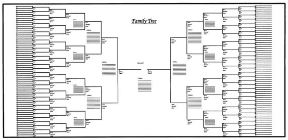 large family tree chart bracket style 48 x 24