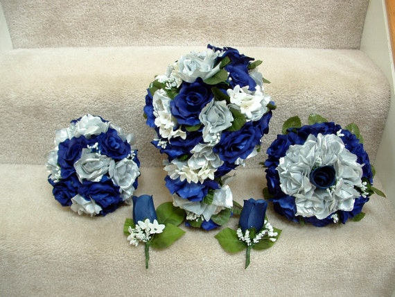 Items similar to Wedding bouquet package Navy Blue and ...