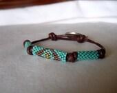 Peyote Beaded Leather Indian Head Nickel Button Bracelet