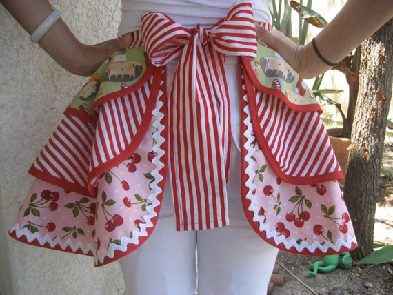 Cherries, stripes with Dolls on top Womens  Apron