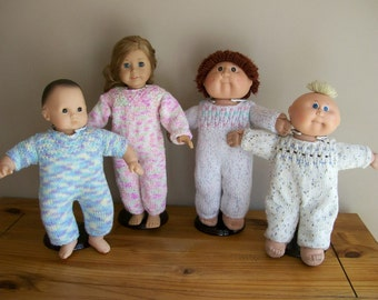 3) Knit Jumpsuit for American Girl Bitty Baby Cabbage Patch Preemie Gotz and Girlz  for 10, 12, 15 or 18 Inch Dolls