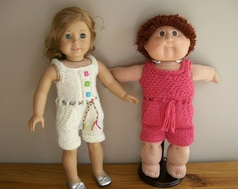 5) Knit Rompers for American Girl, Cabbage Patch, Bitty Baby, Preemie, Rompers will fit 10, 12, 15 and 18 Inch Dolls