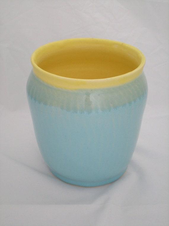 Medium blue and yellow wide vase