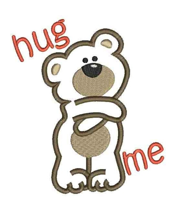 hug me applique machine embroidery design Instant Download