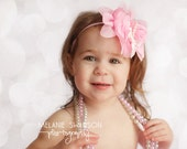 Light Pink Chiffon Rose with pearls and a bow
