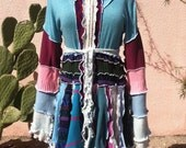 Upcycled Sweater Coat in Pink Blue and Purple with Princess Sleeves - OOAK