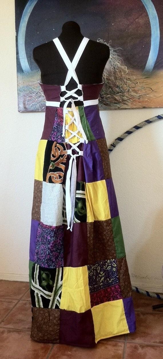 RESERVED Hippie Patchwork Dress Boho Adjustable Size
