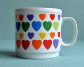 SALE Huge Retro Rainbow Hearts Mug