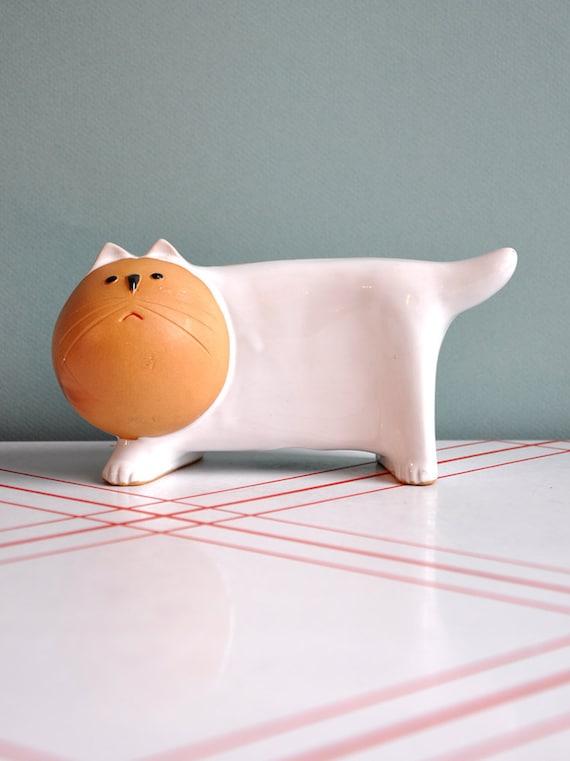 Ceramic White Cat Bank Lisa Larson Style