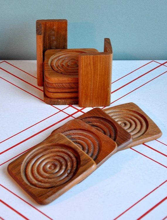 "Teak ""Concentric Circles"" Coaster Set Danish Modern Style"