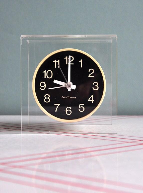 HOLD FOR NIXON - Seth Thomas Modernist Floating Lucite Clock