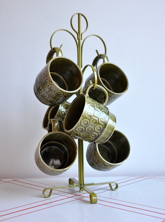 SALE 25% OFF - Graphic Stacking Mugs with Tree - Set of 6