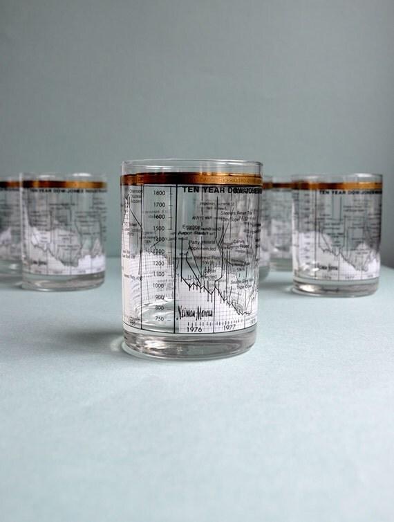 "Neiman Marcus 22K Gold ""1986 Wall Street"" Glasses - Set 6"
