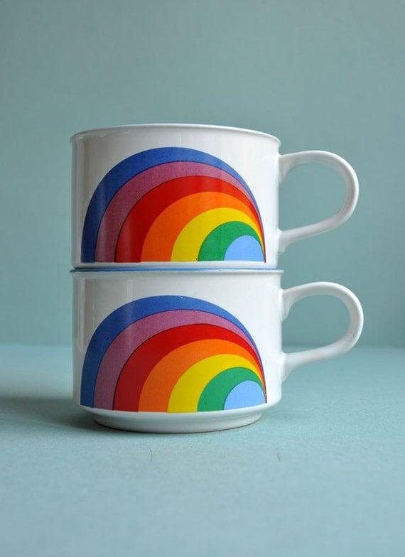 Retro Rainbow Mugs - Set of 2