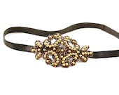 Brown and Gold Beaded Applique Headband- Hair Accessory